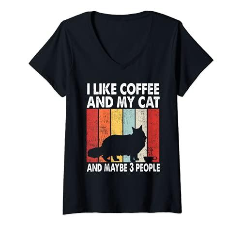 Mujer Me gusta el café y mi gato tal vez 3 personas Vintage Maine Coon Camiseta Cuello V