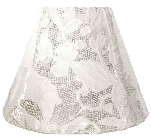 Coquecigrues - Ronde witte kanten lampenkap transparant - diameter 15 cm