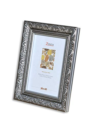 "Victor antiker Bilderrahmen ""Rubens"" schwarz Silber in 30x40 cm - Leiste: 30x20 mm - Echtglas - barock"