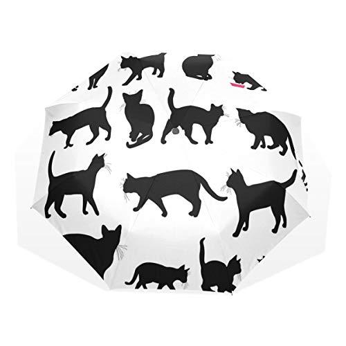 LASINSU Regenschirm,Schwarze Cat Silhouettes In Different Poses Haustiere Kitty Paws Tail and Whiskers,Faltbar Kompakt Sonnenschirm UV-Schutz Winddicht Regenschirm