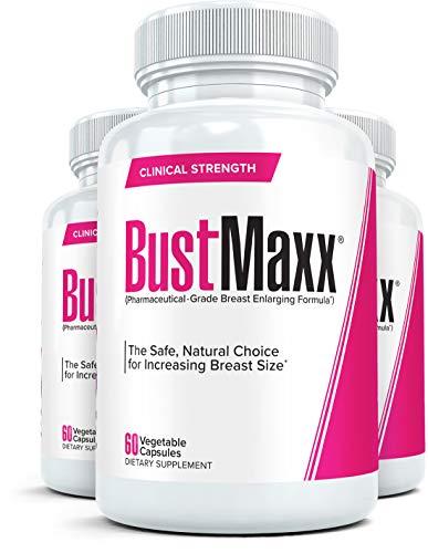 BustMaxx (3 Flaschen): Die weltweit vertrauenswürdigsten Pillen zur Brust- und Brustvergrößerung - Natürliche Ergänzung zur Brustvergrößerung für größere Brüste, jeweils 60 Kapseln