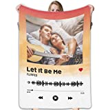 LEINTEREST Custom Fleece Blankets with Photos, Song&Singer Name Personalized Song Code Throws Blankets for Adults Kids 60 x 80 Inches Customized Music Fleece Blankets with Picture, Multicolor