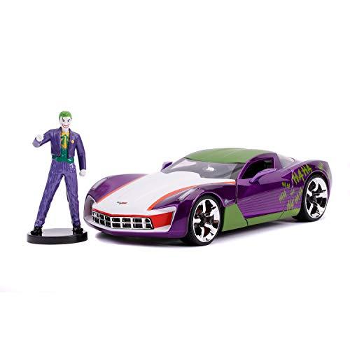 Jada - Joker, Coche Corvette Stingray escala 1:24 con figura Joker, apertura de puertas, licencia DC...