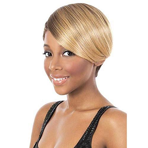 Sexy Lady Perruque Blonde Brun Perruques Mixtes Femmes Coupe Latérale Courte Droite Naturel Synthétique sans Colle Cosplay Halloween Robe Partie Perruques