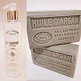 Leche corporal nutritiva con aceite de argán orgánico Bell'argán + 2 jabones con leche de ansia con aceite de argán ecológico.