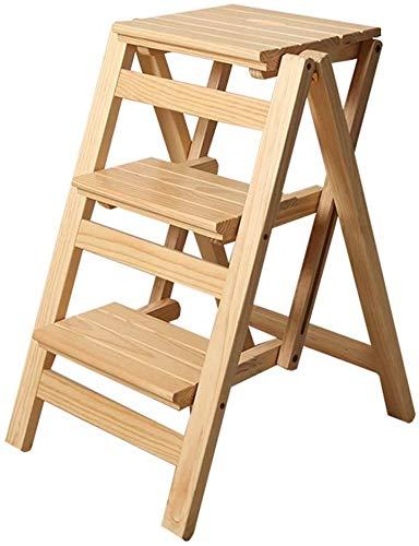 Escaleras plegables plegables plegables pasos pasos escalera plegable escalera de mano Paso 3 pasos de madera ligera y plegable para niños de adultos para la decoración Cocina loft principal,Yellow