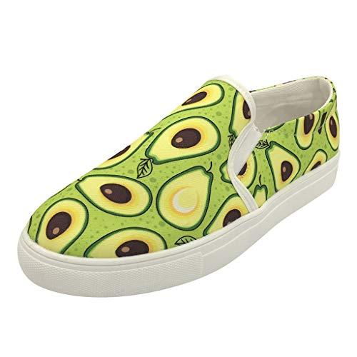 YWLINK Zapatos Casuales De Las Mujeres TamañO Grande Transpirables Zapatillas De Secado RáPido CóModo Mocasines Estampado De Moda De Aguacate Fiesta Ciclismo Yoga De La Aptitud(Verde,43EU)