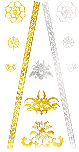 Oh My Shop - GHM15 - Planche Tattoo Tatouage Ephémère Temporaire Métallique Body Art Baroque - Argent/Or