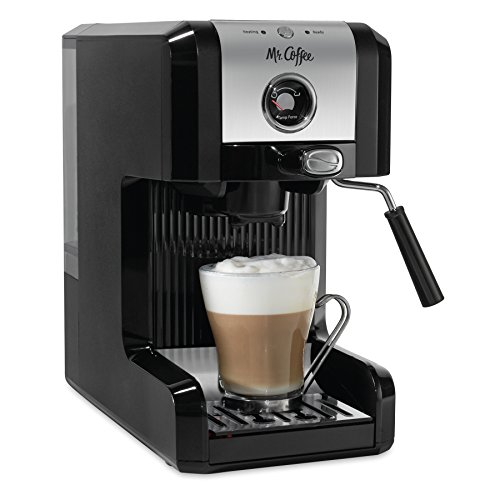Mr. Coffee Easy Maker | Authentic Pump Espresso Machine, 6 Piece, Chrome/Black