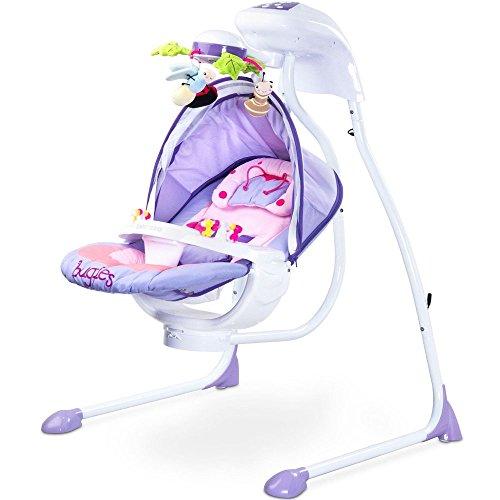 Elektrische DeLuxe Babyschaukel Modell Bugies Käferdesign 3 Schaukelrichtungen mit Musik und Geräuschen Licht Mobile verstellbarer Sitz Timer LILA inklusive Moskitonetz Mädchen