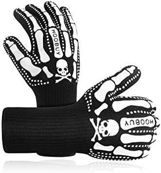 Hoobuy BBQ Grill Gloves 1472 High Heat Resistant Smoker Fire Proof Oven Gloves with Fingers product image