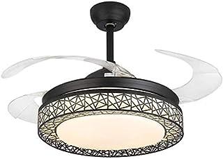 Ventilador Moderno Luz de Techo con Control Remoto Lámpara de Araña de Ventilador de Cristal Regulable de Tres Colores Retráctil Mudo Luz de Ventilador Interior 42 Pulgadas (Negro)
