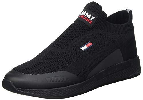 Tommy Hilfiger Homme Tommy Jeans Flexi Sock Runner Sneakers basses , Noir ,43 EU