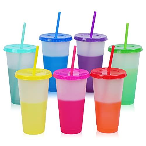 Wiederverwendbare Becher mit Farbwechsel, 7 Stück, BPA-frei, magische farbige Gläser mit Deckel Strohhalme, 473 ml, Kunststoff-Kaffeetassen, Kaltgetränkebecher für Kinder und Erwachsene