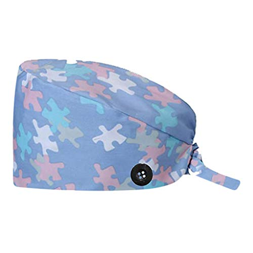 ZLOLIA Women's and Men's Cap Working Hat with Button Sweatband Adjustable Tie Back Hats One Size Multiple Color Sky Blue