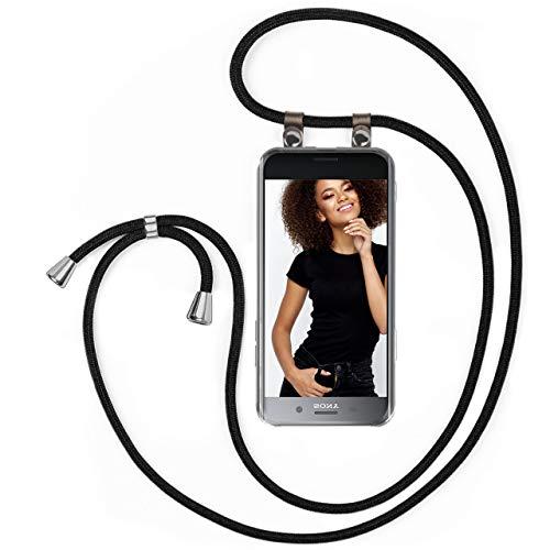 moex Handykette kompatibel mit Sony Xperia XZ Premium - Silikon Hülle mit Band - Handyhülle zum Umhängen - Case Transparent mit Schnur - Schutzhülle mit Kordel, Wechselbar in Schwarz