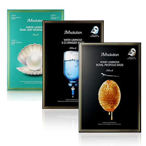 JM Solution Value Pack 3 Boxes of Facial Sheets Mask- Marine Luminous Pearl, Luminous S.O.S Ringer. Honey Luminous Royal Propolis 10 Sheet mask per Box
