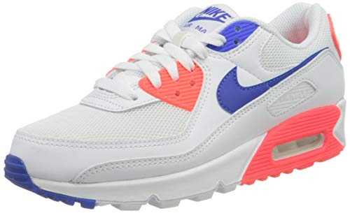 Nike W Air MAX 90, Zapatillas para Correr Mujer, White Racer Blue Flash Crimson, 38.5 EU