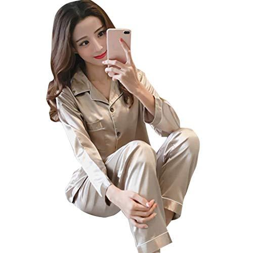 Huaheng Seide Damen Schlafanzüge Mädchen Schlafanzüge Anzug Satin Nachthemd Pyjama Langärmliges Oberteil Lang Hose Set - Champagner, 2XL