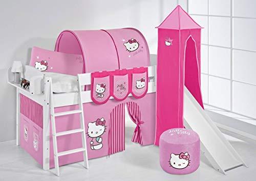 Lilokids Lit surélevé ludique IDA 4105 90x200 cm Hello Kitty Rose - Lit surélevé évolutif Blanc laqué - avec Tour, Toboggan et Rideaux