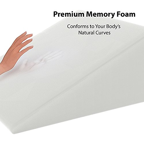 Real 12 Inch Bed Wedge Pillow for Sleeping and Acid Reflux -Firm Memory Foam and a Removable Cover- Post Surgery, Leg Elevation, Gerd, Snoring, Sleep Apnea, Reading, Back Pain