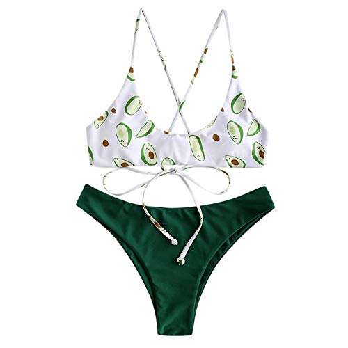 Bikinis Bañador Mujer Conjunto De Bikini con Estampado De Aguacate Verde Bikini De Mujer Sexy Traje De Baño Lindo-Green_S