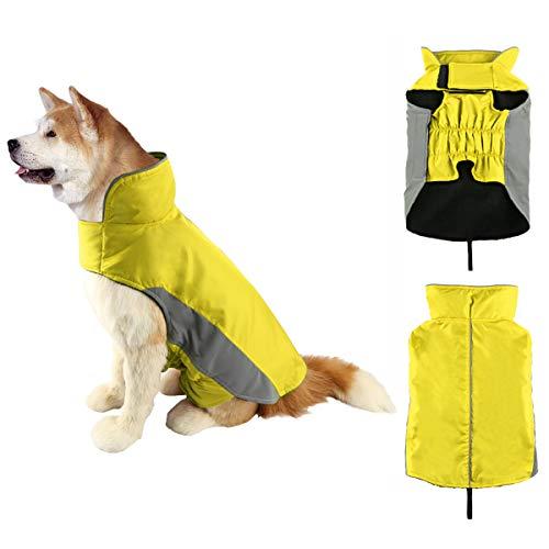 SymbolLife Hundemantel Winter Warm Hundejacke Regen Wasserdicht Jacke Winterjacke für Hunde Reflektierende Nylon Fleece Gefüttert Einfaches An- u. Ausziehen Gelb (M)