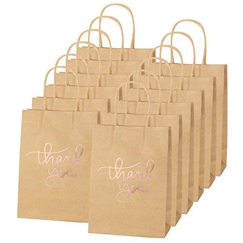 24 Papiertüten mit Henkel - Kraft Papiertüte mit Danke Schriftart, Für Partys, Geschenk, Brottüten, Papiertragetaschen, Säckchen, Packpapier Tüten Weiß