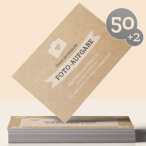 Hochzeitsspiel: 50 Fotoaufgaben für die Hochzeit + 2 Blanko Fotokarten – für unvergessliche Hochzeitsfotos und Gäste, die sich ungezwungen kennenlernen