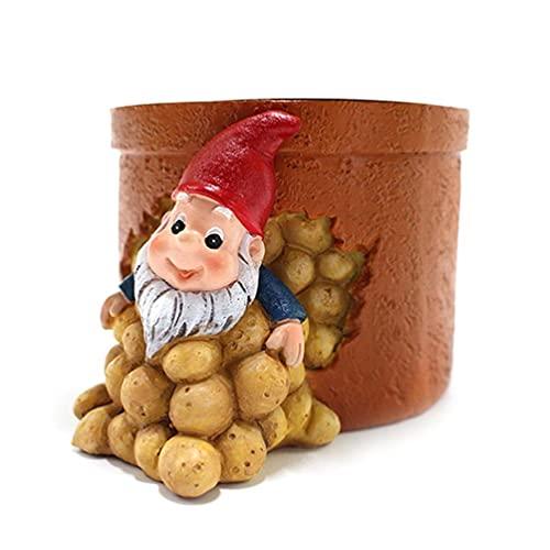 Enanito patatas o elf macetero suculenta plantas de resina artesanales decoración de mesa escritorio ornamental artesanía artesanía decoración de mesa