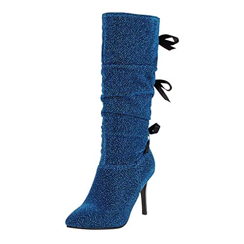 Damen Winter Stiefel 2019 Frauen sexy süße Schuhe mit hohen Absätzen Spitzen Bogen Stiletto Stiefel High-Tude Stiefel Warm Stylisch Ausgehen Wild Jeden Tag Schuhe(Blau,38