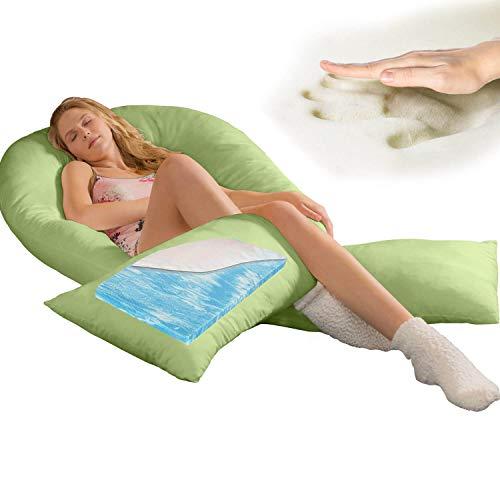Traumreiter Visco XXL Zijslaapkussen met overtrek, hybride kussen met 1 cm traagschuim, U-vormig zwangerschapskussen, gel body kussen (limoengroen)