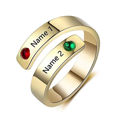 Europese en Amerikaanse Mode Sieraden-Gepersonaliseerde Birthstone Ringen voor Vrouwen 3 Kleuren Naam Gegraveerd, Thumby C
