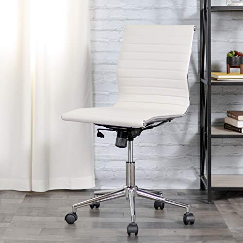Flash Furniture Mid-Back Armless White Ribbed LeatherSoft Swivel Conference Office Chair
