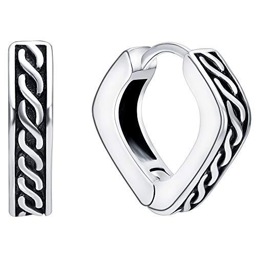 PunkTracker Square Vintage Gothic Hoop Earring Small Stainless Steel Punk Rock Huggie Earrings for Men