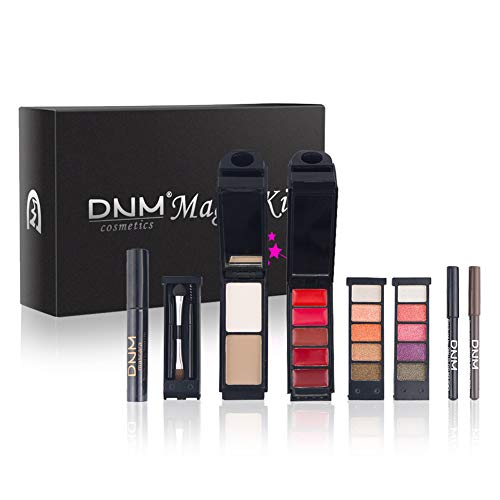Kit de maquillage magique portable Angmile: rouge à lèvres, fard à paupières, surligneur, mascara, crayon à sourcils, traceur pour les yeux, Miroir Et Pinceau