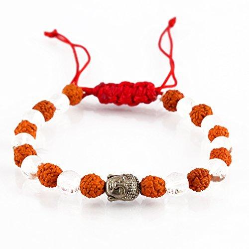 Aatm Rudraksha Seed with Sphatik Bead Buddha Charm Bracelet for Healing, Meditation and Prayer