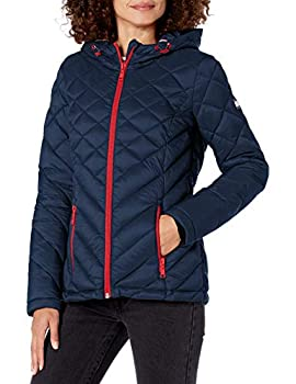 Tommy Hilfiger Women s Hooded Quilted Packable Jacket Bluish NavyLarge Large