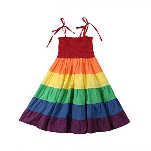 Toddler Kids Girls Summer Dress Rainbow Sleeveless Halter Beach Tutu Sundress One Piece (Rainbow Dress, 5-6X)