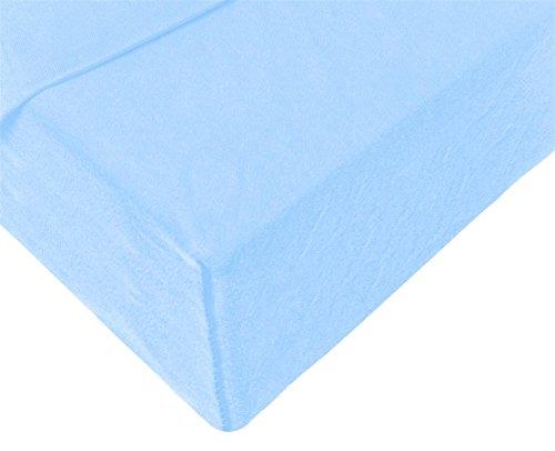 Double Jersey – Spannbettlaken 100% Baumwolle Jersey-Stretch bettlaken, Ultra Weich und Bügelfrei mit bis zu 30cm Stehghöhe, 160x200x30 Himmelblau - 4