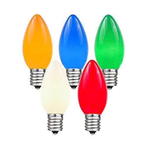 Novelty Lights 25 Pack C9 Ceramic Outdoor String Light Christmas Replacement Bulbs, Multi, E17/C9 Base, 7 Watt