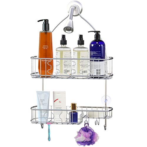 SimpleHouseware Bathroom Hanging Shower Head Caddy Organizer, Chrome (26 x 16 x 5.5 inches)