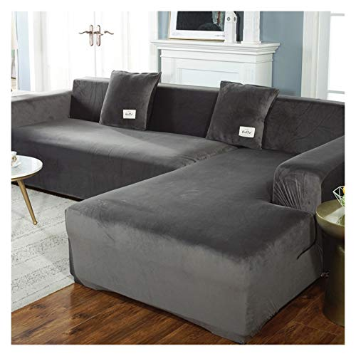 WBFN Funda, Fundas de sofá de Felpa for la Sala de Terciopelo elástico de la Esquina seccional sofá Love Seat Cover Set sillón en Forma de L Muebles Funda