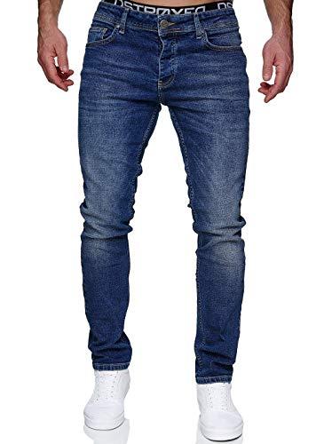 MERISH Jeans Herren Slim Fit Jeanshose Stretch Denim Hose Designer 1512 (33-34, 1512-02 Dunkelblau)
