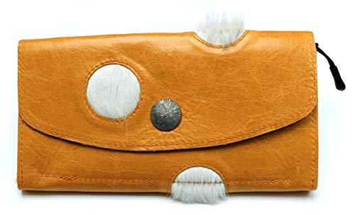 Portemonnaie/Geldbörse aus echtem Rindsleder & Kuhfell | 4 Fächer (Kleingeldfach mit Reißverschluss), 12 Kartensteckfächer, Druckknopf | Maße: 19,5 cm x 10 cm x 2 cm | gelb-weiß