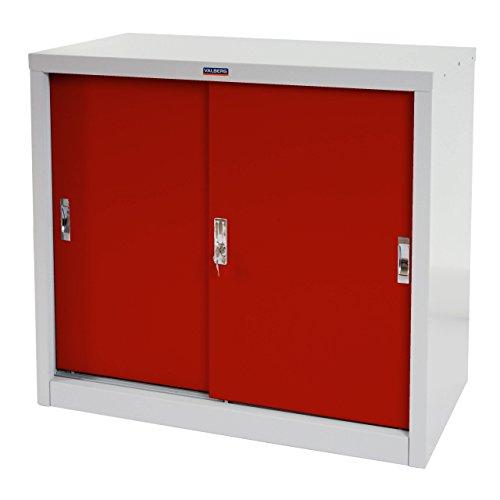 Valberg Aktenschrank T333, Metallschrank Büroschrank, 2 Schiebetüren 83x91x46cm ~ rot
