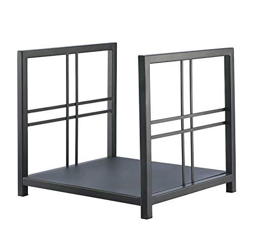 LDMD Brennholzregal Rechteckiges Schwarzes Brennholzregal, Metallständerhalter für Außen/Außen/Innen/Haus/Wohnzimmer/Garten, 35 cm Hoch