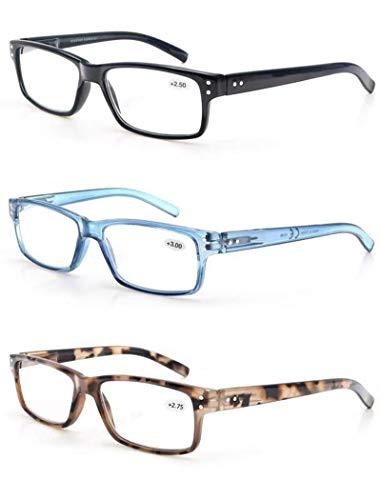 MODFANS Paquete de 3 Gafas de Lectura Hombre Mujer con Montura Rectangular/Gafas para Presbicia,Buena Vision Ligeras Comodas,Vista de Cerca/Vista Cansada