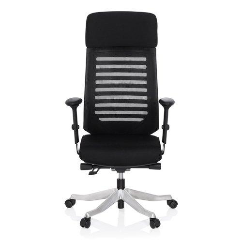 hjh OFFICE 640220 Schreibtischstuhl ASGON Stoff Schwarz Bürostuhl ergonomisch mit Netzrücken, Sitztiefe verstellbar