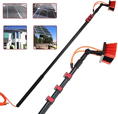 10m Telescopic Solar Panel Cleaning Brushes Rod,Cleaner Water Fed Pole Kit for Cleaning Outer Window Glass, Tile Walls,Glass Curtain Wall,Solar Panel Surface (36FT-7.6FT)